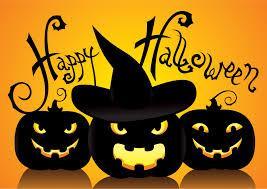 Happy Halloween greeting with orange background and 3 black jack-o-lanterns